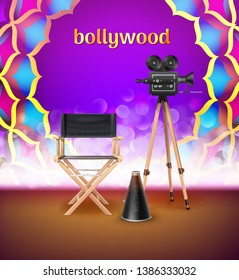 Vector illustration of Indian logo sign Bollywood in colored mandala ornament with glowing element and realistic equipment for cinema stage isolated on background
