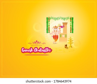VECTOR ILLUSTRATION FOR INDIAN LORD GANESHA FESTIVAL WITH HINDI TEXT MEANS GANESHA CHATURTHI , ILLUSTRATION IS SHOWING INDIAN GOD GANESHA ON SHINNY BACKGROUND, DEVOTEES  ARE CELEBRATING THE FESTIVAL