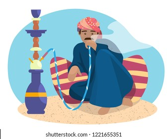 Vector illustration of Indian man smoking hookah.  Asian man in turban character in flat style.