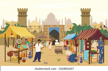Vector illustration of Indian market with people and different shops with ancient cityscape at the background.Ceramics, fabrics, carteps,spices, sweets, vegetables. Asian characters. Asian bazaar.