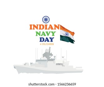 Vector illustration of Indian navy day, 4 th December.