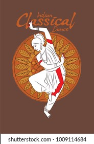 Vector illustration of indian odissi dancer. Odissi classical dance of Odisha, India.