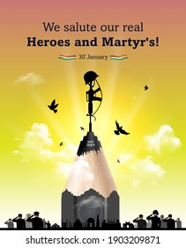 vector illustration of Indian patriotic background shahid diwas, Martyrs Day concept, people army saluting Amar Jawan Jyoti gun, remembering freedom fighters, army and independence day