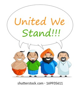 vector illustration of Indian people of different culture standing together