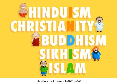 vector illustration of Indian people of different caste forming India