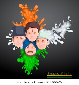 0c7733d09b vector illustration of Indian people of different culture standing together,  Unity in Diversity
