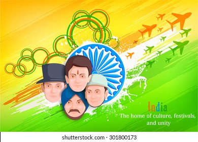 vector illustration of Indian people of different culture standing together, Unity in Diversity