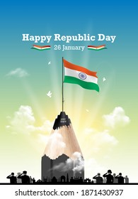Vector illustration of Indian Republic Day concept background 26 January, army saluting celebrating  and remembering the freedom fighters, monuments skyline, India get parade and Amar Jawan text