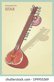 Vector illustration indian sitar instrument