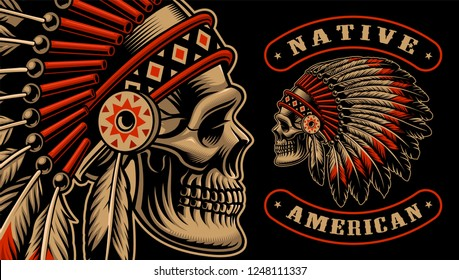 Vector illustration of an indian skull. Shirt design of indian warrior on the dark background.