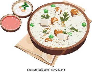 Vector Illustration of indian soya bean pulav or biryani or rice