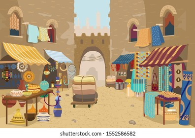 Vector illustration of Indian street bazaar with different shops: ceramics, carpets and fabrics, spices, jewelry. Asian street market with authentic goods. Local trade. Traditional crafts.