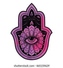 Vector Illustration of Indian symbol Hamsa or Hand of Fatima with watercolor background