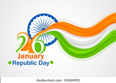 vector illustration of Indian tricolor flag background for Happy Republic Day