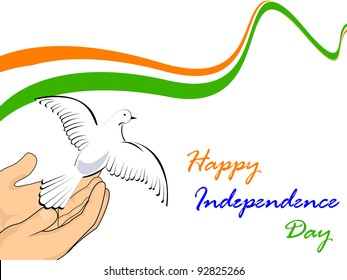 Vector illustration of Indian tricolor flag with flying pigeon releasing from hands on white isolated background for Republic Day and Independence Day.