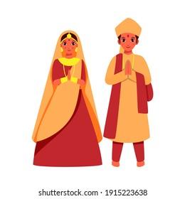 Vector Illustration Of Indian Wedding Couple Doing Namaste On White Background.