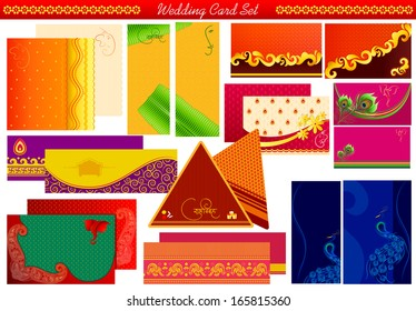 vector illustration of Indian wedding invitation card with Shubh Vivah( Happy Wedding) message