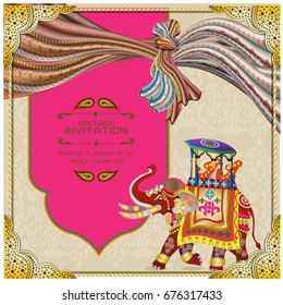 vector illustration of Indian wedding invitation card with abstract background. Islam, Arabic, India Indian wedding card All about Indian ceremony in vector templates Ethnic & Colorful Mandala design,