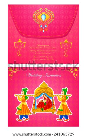 Vector Illustration Indian Wedding Invitation Card Stock Vector