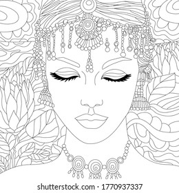 Vector illustration with indian woman. Portrait. Vector coloring illustration with indian girl. Woman portrait. Beautiful face. Colouring page. Monochrome line drawing