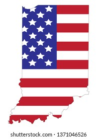 vector illustration of Indiana map with american flag