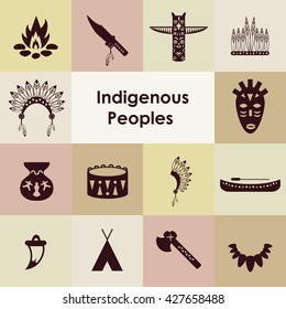 vector illustration / indigenous peoples icons set