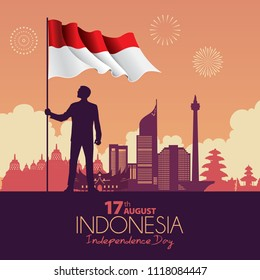 Vector illustration of a Indonesia Independence Day celebrations.