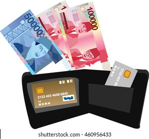 vector illustration of indonesian rupiah and credit cards on the wallet (fifty thousand rupiah and one hundred thousand rupiah) . white background