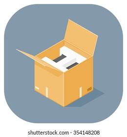 A vector illustration of an industrial cardboard box. Isometric cardboard box with new goods icon illustration. Packaged goods for delivery.