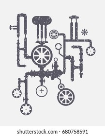Vector illustration of industrial mechanism