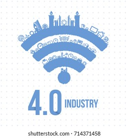 Vector Illustration of Industry 4.0 Concept Business Control, Sketch Icon Presentation Design