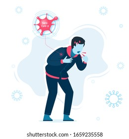 Vector Illustration of Infected person of Coronavirus  (Covid-19 or Sars-Cov-2) in white background. Coronavirus Infections
