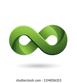 Vector Illustration of Infinity Symbol with Green Color Tints isolated on a White Background