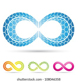 Vector illustration of infinity symbols with mosaic pattern