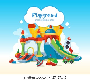 Vector illustration of inflatable castles, children hills, toys on playground.