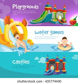 Vector illustration of inflatable castles and children water hills on playground.