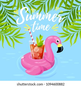 Vector illustration, inflatable flamingo with a cocktail in a swimming pool. Summer time text.