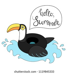 Vector illustration: inflatable swimming accessory black rubber Toucan with yellow beak, black tale and wing and white neck in flat style  with calligraphic lettering isolated on white background.