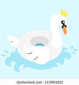 Vector illustration: inflatable swimming accessory white rubber Swan with yellow crown, orange beak, wing, tale and blue wave in flat style isolated on blue background.