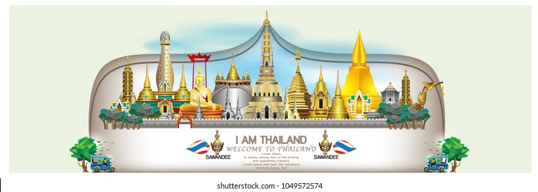 vector illustration of Info graphic elements for traveling to Thailand, concept Travel to Thailand. Info graphic Element / icon / Symbol , Vector Design travel Thailand Fun and standard