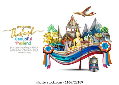 vector illustration of Info graphic elements for traveling to Thailand, concept Travel to Thailand. Info graphic Element / icon / Symbol , Vector Design travel Thailand Three dimensional, 3 d