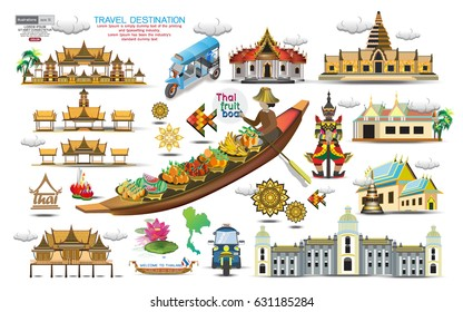 vector illustration of Info graphic elements for traveling to Thailand, concept Travel to Thailand. Info graphic Element / icon / Symbol , Vector Design travel Thailand