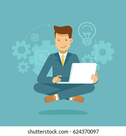 Vector illustration and infographic design in flat style - man sitting in lotus pose with laptop - freelance or outsource worker - business man working on start up