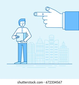 Vector illustration and infographic design in flat linear style - unhappy man lost his job - male character standing with box and boss hand pointing out