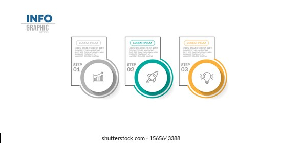 vector illustration Infographic design template with icons and 3 options or steps. Can be used for process, presentations, layout, banner,info graph.