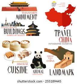 A vector illustration of Infographic elements for traveling to china