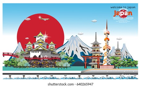 vector illustration of Infographic elements for traveling , concept Travel to Japan Element / icon / Symbol , Vector Design