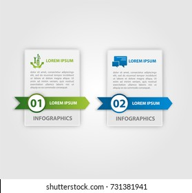 Vector illustration. An infographic template with 2 steps and an image of two rectangles. Use for business presentations, education, web design. Place for text and icons.