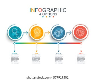 Vector illustration infographic template with 3D circles paper label, business template for presentation. Creative concept for infographic, diagram, flowchart, workflow layout. Line business icon set.