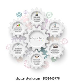 Vector illustration of an infographic template for business analysis, team work, presentations, graph, diagrams. Six options.